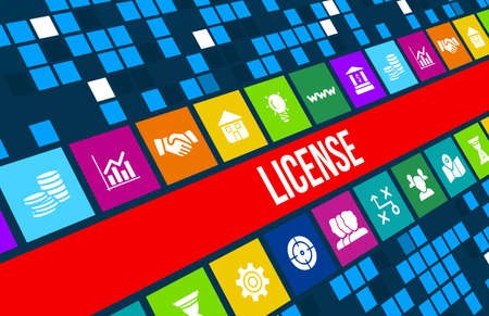 License concept image with business icons and copyspace.