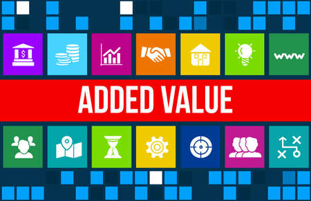 Added value concept image with business icons and copyspace. 版權商用圖片 - 45157797