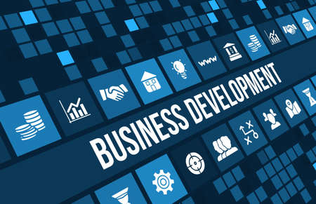 Business development concept image with business icons and copyspace. Archivio Fotografico