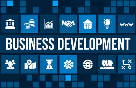 Business development concept image with business icons and copyspace. Stok Fotoğraf