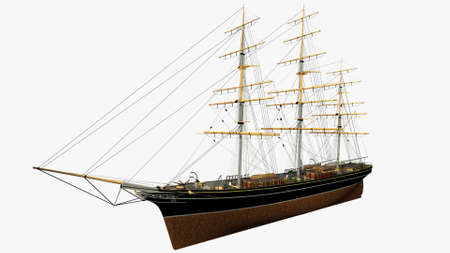 sark: Perspective Side Rendering of the English Clipper Cutty Sark 3d Model