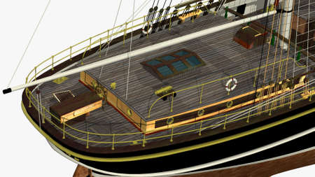 sark: Perspective Back Rendering of the English Clipper Cutty Sark 3d Model