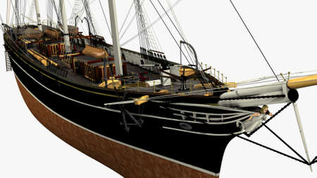 sark: Perspective Front Rendering of the English Clipper Cutty Sark 3d Model