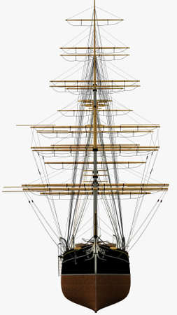 sark: Assonometric Front Rendering of the English Clipper Cutty Sark 3d Model