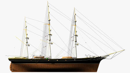 sark: Assonometric Side Rendering of the English Clipper Cutty Sark 3d Model
