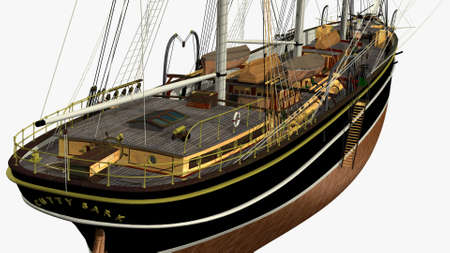 sark: Perspective Back Side Rendering of English Clipper Cutty Sark 3d Model Deck Stock Photo