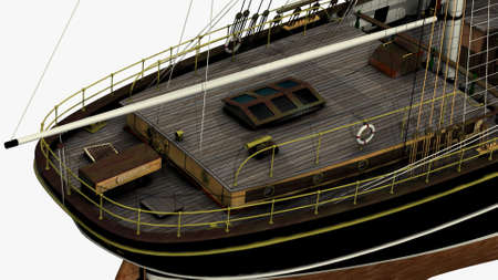sark: Perspective Back Side Rendering of the English Clipper Cutty Sark 3d Model