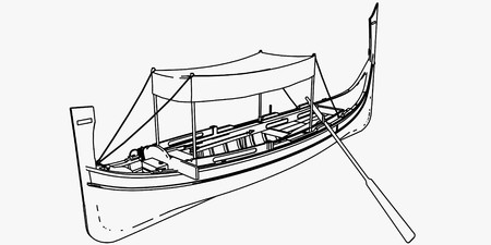 Outline Only - 3D rendering representing in Dghajsa, a typical rowing boat of the Mediterranean island of Malta. 3D rendered model of mine. Imagens