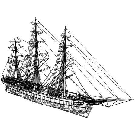 Outline with Frames - 3D render of a typical 19th Century 3 mast Clipper. Ship used for oceanic freight of tea, wool, cotton, etc. - rendering is isolated on a white background. Rendered from a 3d pc model of mine. Imagens