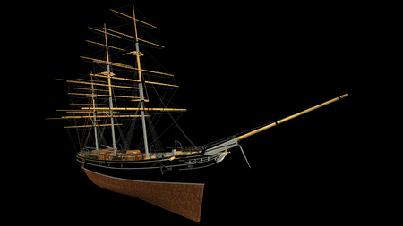 3D rendering of a typical 19th Century 3 mast Clipper. Ship used for oceanic freight of tea, wool, cotton, etc. - rendering is isolated on a white background. Rendered from a 3d pc model of mine. Stock Photo