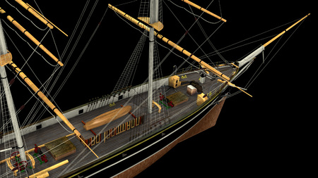 3D rendering of a typical 19th Century 3 mast Clipper. Ship used for oceanic freight of tea, wool, cotton, etc. - rendering is isolated on a white background. Rendered from a 3d pc model of mine. 写真素材