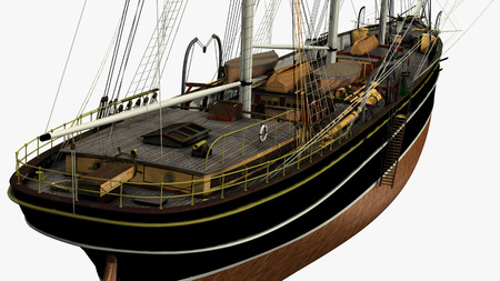 3D rendering of a typical 19th Century 3 mast Clipper. Ship used for oceanic freight of tea, wool, cotton, etc. - rendering is isolated on a white background. Rendered from a 3d pc model of mine.