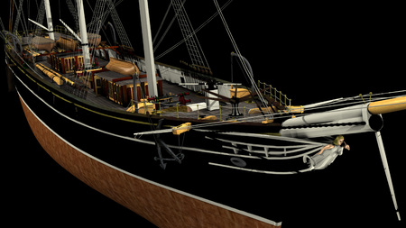 3D rendering of a typical 19th Century 3 mast Clipper. Ship used for oceanic freight of tea, wool, cotton, etc. - rendering is isolated on a white background. Rendered from a 3d pc model of mine. Imagens