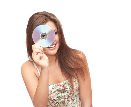 smiling girl in white background holding DVD photo