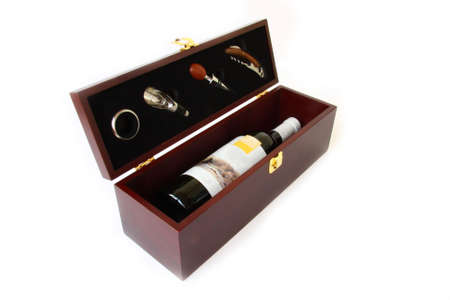 red wine in a gift box photo