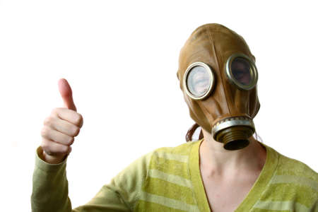 The girl in a gas mask photo