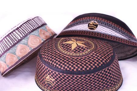 bead embroidery: Islamic cap,white background
