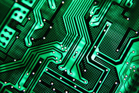 semiconductor: Green PCB on the light