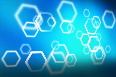 the hexagon on the blue background, abstract background Stock Photo - 9232077
