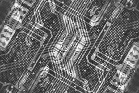 X-Ray printed PCB circuit as black& white photo