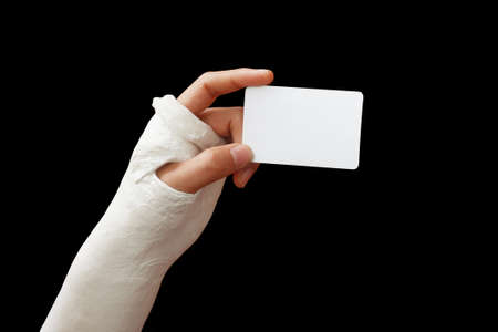 Take my broken arm photo  on dark background photo
