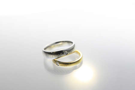 Wedding rings on the white background