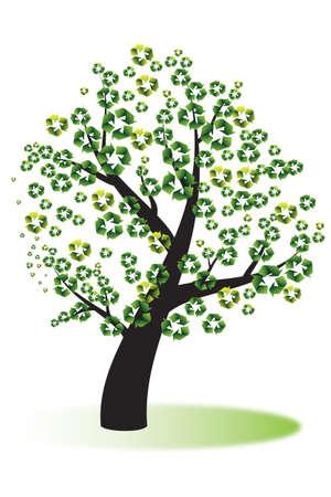 logo recyclage: Recycler les produits fabriqu�s � partir de quelques arbres Illustration
