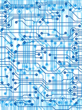 circuitos electricos: X-Ray impreso PCB circuito como el color azul Foto de archivo