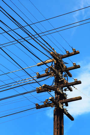 metal pole: Telephone poles with wires for communication. Stock Photo