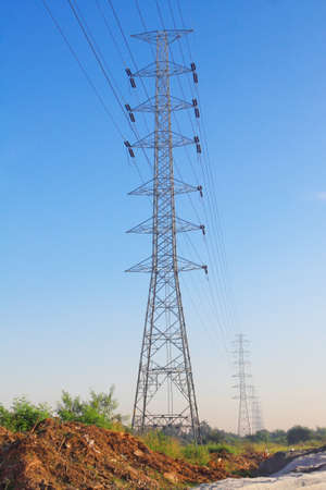 High Voltage tower with Blue Sky