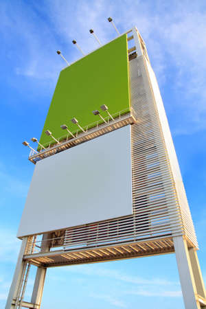 Advertising board with blue sky