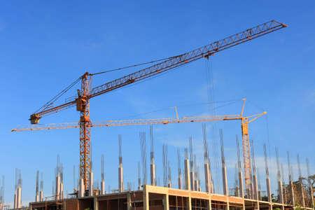 construction crane with blue sky