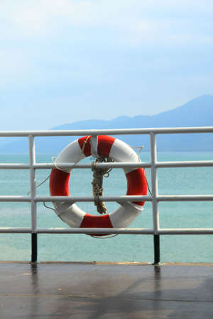 Lifebuoy attached on the ship