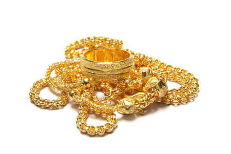 gold necklace isolated on white background 版權商用圖片