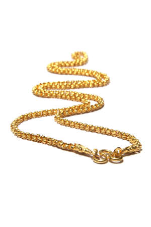 jewelry chain: gold necklace isolated on white background