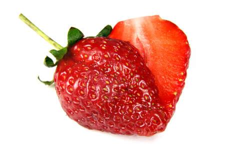 heart shaped strawberry put on white background