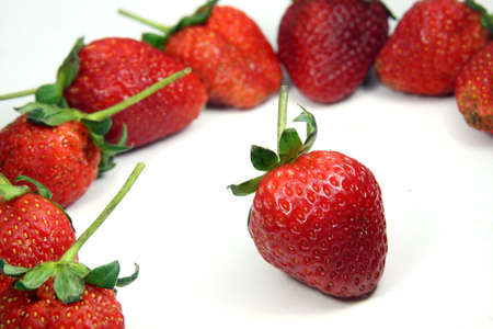 Strawberry put on white background Stock Photo