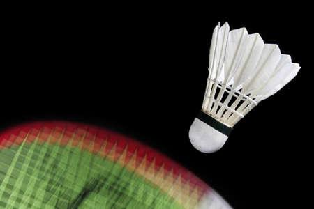 Action badminton racket and shuttlecock Stock Photo