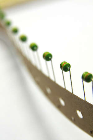 Green Inductor in taping package Stock Photo