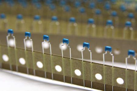 Blue ceramic capacitor in packaging