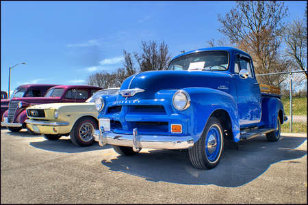 thirties: 1954 Chevy 3100, 1965 Ford Mustang, 1938 Chevrolet
