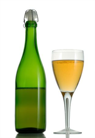 Wine glass and bottle with champagne isolated on white background Stock Photo - 2390060
