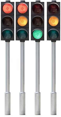 regulate: Isolated traffic light on pole in all combinations. Cut and use.