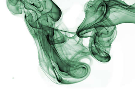 zenlike: Isolated colored abstract smoke isolated on white Stock Photo