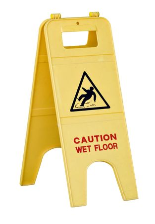 slippery warning symbol: Isolated yellow wet floor sign with text