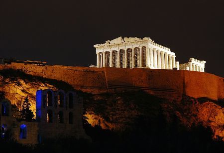 Athens Acropolis at night 版權商用圖片