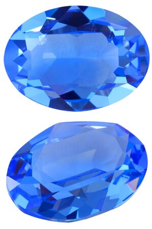 Isolated oval blue gem
