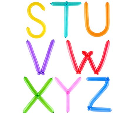 Full alphabet made of color twisted balloons – letters – part 3