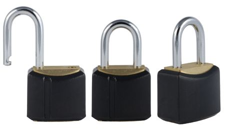 Three views on padlock: open and closed photo