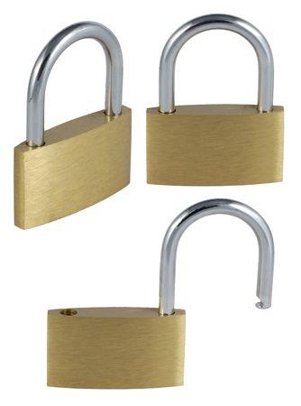 Three views on padlock: open, closed